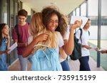 two girls celebrating exam... | Shutterstock . vector #735915199