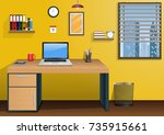 workplace in room with view... | Shutterstock . vector #735915661