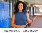 middle aged black female...   Shutterstock . vector #735915709