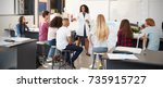 science teacher giving... | Shutterstock . vector #735915727