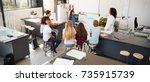 schoolgirl presenting in front... | Shutterstock . vector #735915739