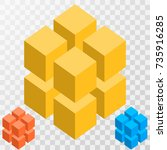 big illusive cube constructed... | Shutterstock .eps vector #735916285