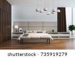 white and beige bedroom... | Shutterstock . vector #735919279