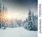 dairy star trek in the winter... | Shutterstock . vector #735921541