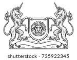 a medieval heraldic coat of... | Shutterstock .eps vector #735922345