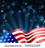 patriotic american flag... | Shutterstock .eps vector #735922399
