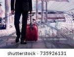 double exposure of businessman... | Shutterstock . vector #735926131