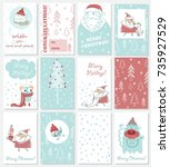 collection of christmas...   Shutterstock .eps vector #735927529