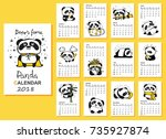 calendar 2018. cute pandas for... | Shutterstock .eps vector #735927874