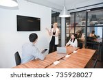 business blonde woman and... | Shutterstock . vector #735928027