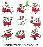 christmas set of santa clauses...   Shutterstock .eps vector #735929275