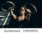 young athletic sportswoman... | Shutterstock . vector #735933925