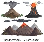 volcanoes with magma  lava and... | Shutterstock .eps vector #735935554
