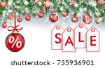 christmas card with red percent ...   Shutterstock .eps vector #735936901