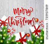 merry christmas  greeting card ....   Shutterstock .eps vector #735937849