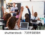 pupils with hands raised in... | Shutterstock . vector #735938584