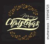 merry christmas vector greeting ...   Shutterstock .eps vector #735938725