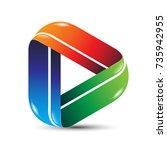 3d media play icon logo design. ... | Shutterstock .eps vector #735942955
