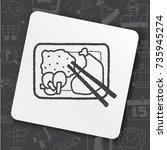 doodle healthy lunch | Shutterstock .eps vector #735945274