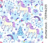 christmas seamless pattern with ...   Shutterstock .eps vector #735946255