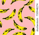Seamless pop art style pattern of yellow and black dark bananas randomly distributed on pink background. Vector Illustration.