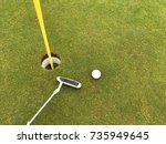 nearest to the pin   golf ball... | Shutterstock . vector #735949645