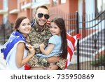 us army soldier with family and ... | Shutterstock . vector #735950869