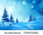 christmas winter background... | Shutterstock . vector #735953581