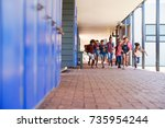 school kids running to camera... | Shutterstock . vector #735954244