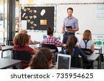 teacher with tablet in front of ... | Shutterstock . vector #735954625