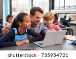 teacher and two young students... | Shutterstock . vector #735954721