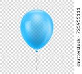 light blue realistic balloon.... | Shutterstock .eps vector #735955111