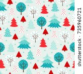 christmas seamless pattern with ... | Shutterstock .eps vector #735960721