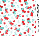 christmas seamless pattern with ...   Shutterstock .eps vector #735960745