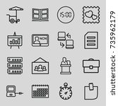 business icons set. set of 16... | Shutterstock .eps vector #735962179