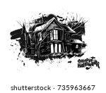halloween   scary farmhouse... | Shutterstock .eps vector #735963667