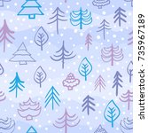 christmas trees pattern with...   Shutterstock .eps vector #735967189