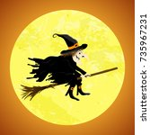 witch in front of full moon... | Shutterstock .eps vector #735967231