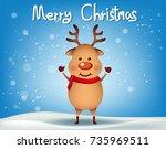 reindeer child sitting in...   Shutterstock .eps vector #735969511