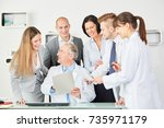 hospital employee staff and...   Shutterstock . vector #735971179