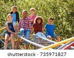 pre teen friends sitting on... | Shutterstock . vector #735971827