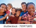 six pre teen friends... | Shutterstock . vector #735971851