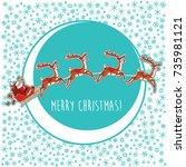 vector illustration with santa...   Shutterstock .eps vector #735981121