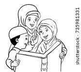 cartoon muslim mother with son... | Shutterstock .eps vector #735981331