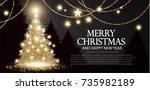 christmas tree. elegant card...   Shutterstock .eps vector #735982189