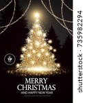 christmas tree. elegant card... | Shutterstock .eps vector #735982294