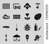 garden icons set. set of 16... | Shutterstock .eps vector #735982555