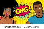 wow afro american couple.... | Shutterstock .eps vector #735983341