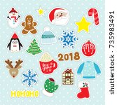 christmas stickers. holiday...   Shutterstock .eps vector #735983491