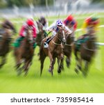 Stock photo horse race speed motion blur effect 735985414